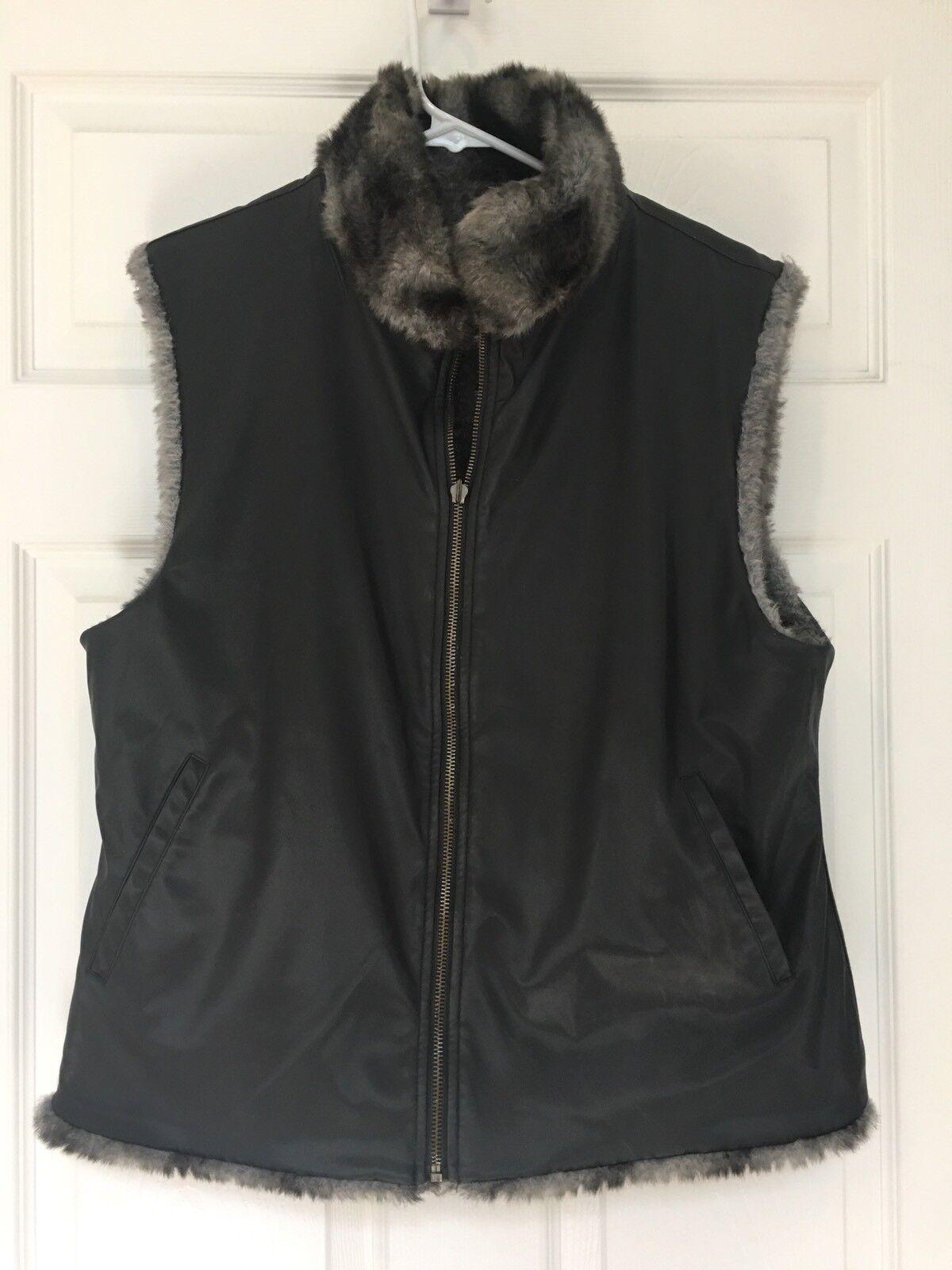 Blassport By Bill Blass Woman Faux Faux Faux Fur Reversible Vest Vegan  Size M  e5e60b