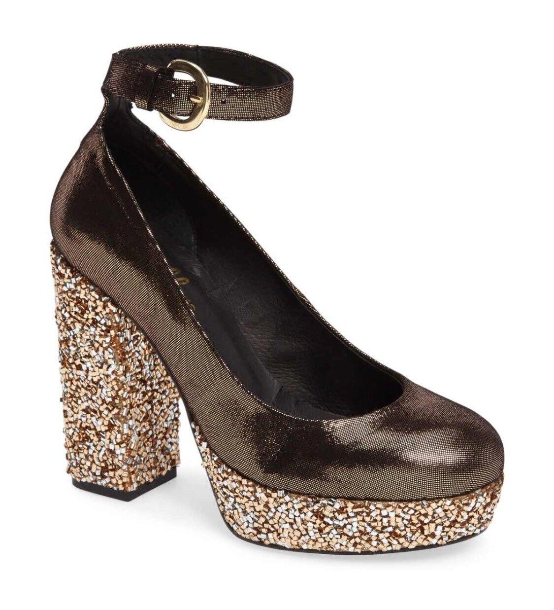 Shellys London Woman Heel Thrift Bronze Glitter Ankle Strap Stack Heel Woman Wedge Platform 3c9270