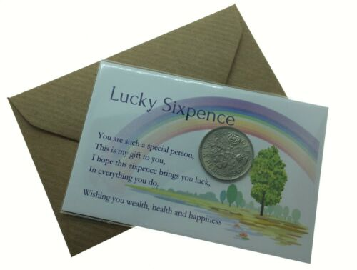 LUCKY SIXPENCE COIN CARD *GIFT*BIRTHDAY*FRIEND*LUCK*NHS*FRIENDSHIP With Envelope