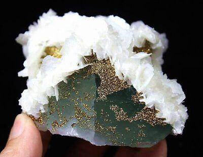 445g 90mm Golden Chalcopyrite & Calcite on BIG Green Fluorite CMM422965 China