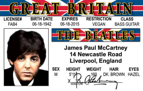 Paul McCartney of the BEATLES fun collectors card Drivers License