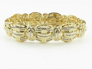 Details About 14k Yellow Gold Men S Diamond Bracelet 9 4 00 Carats