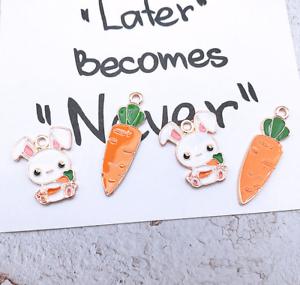 20X alloy bunny Carrot Cartoon Pendant Jewelry Accessori Earrings Accessorie DIY