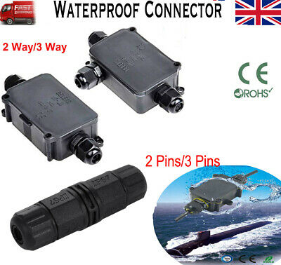 2//3 Pin Waterproof Junction Box Electrical Cable Wire Connector IP68 Underground