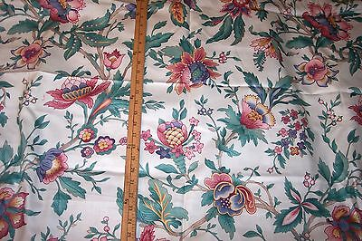 """5.50 Yards 54""""wide COTTON PINK/AQUA/TEAL on WHITE FLORAL FABRIC VALANCES/PILLOWS"""