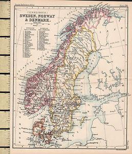 C VICTORIAN MAP SWEDEN NORWAY DENMARK SCANDINAVIA - Norway map districts