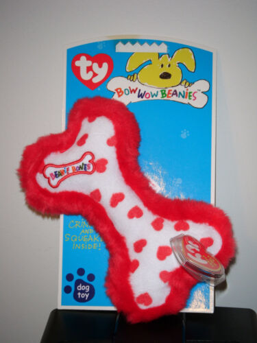Ty Bow Wow Beanies ~ HEARTS the BONE MWMT 6.5 Inch Crinkle//Squeak Toy