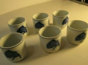 Set-of-6-Blue-and-White-Porcelain-Koi-Fish-Teacups-Sake-Saki-Cobalt-Made-China