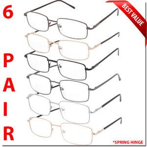 6-Pair-Reading-Glasses-Men-Women-Unisex-with-Spring-Hinge-Metal-Pack-Readers-New