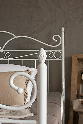 vintage flair   metallbett 120x200  in weiss ecru oder schwarz  inkl lattenrost