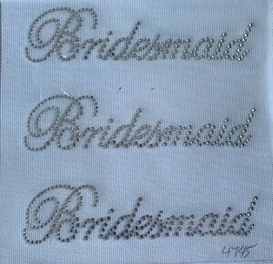 3 Bridesmaids Tshirt Wedding Rhinestone Transfer Iron On Hot Fix Applique Ebay