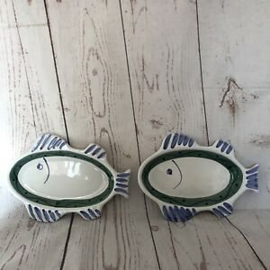 CALECA-Set-of-Two-Hand-Painted-Italian-Pottery-RARE-10-Fish-Plate-Platters