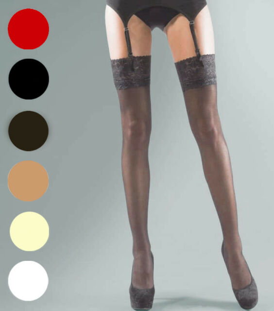 Silky Shine Lace Top Glossy Stockings One size M 15 Denier Various Colours