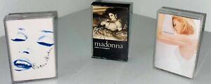 Lot of 3 VTG 80's/90's Madonna Cassette Tapes Erotica, Like A Virgin, Something