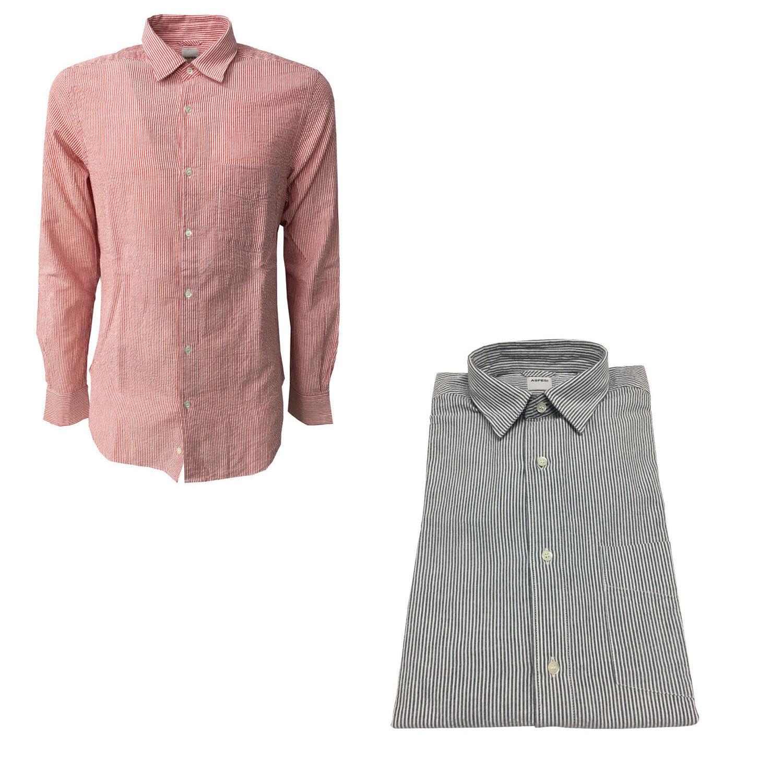 ASPESI Herrenhemd Streifen mit Tasche rotuziert II CC02 A330 100% Baumwolle