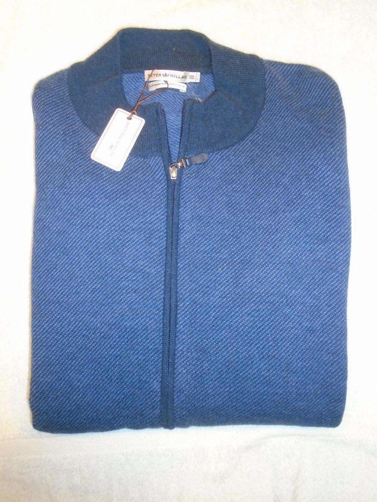 Peter Millar Wool & Cotton Blend Cardigan Sweater NWT XXL  Hawaiian bluee