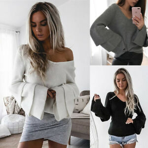 New-Casual-Loose-Long-Sleeve-Sweater-Womens-V-neck-Knitwear-Pullover-Jumper-Tops