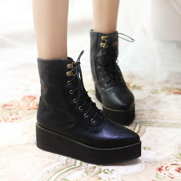 Womens Fashion Lace up Platform Pointy Toe Ankle Boots Crepper Knight Plus Size