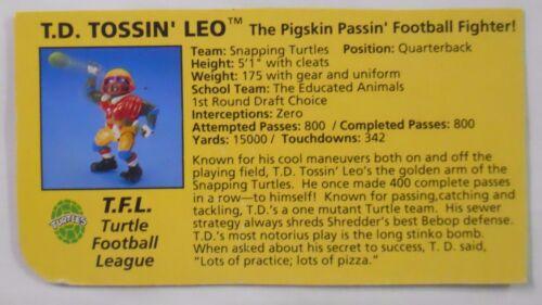 VINTAGE! 1991 Playmates Teenage Mutant Ninja Turtles Filecard-TD Tossin' Leo