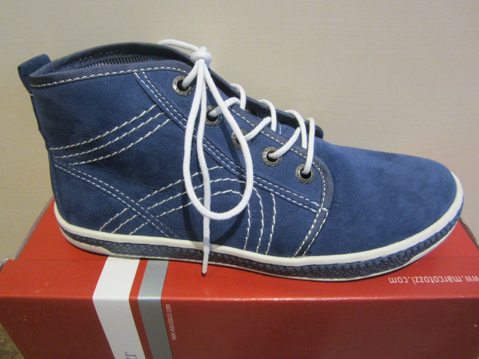 MARCO TOZZI Boots to Lace-Up, bluee Fabric Lining, NEW