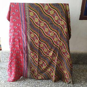 Indian Kantha Throw Floral Print Kantha Quilt Reversible Bedspread Cotton Gudri
