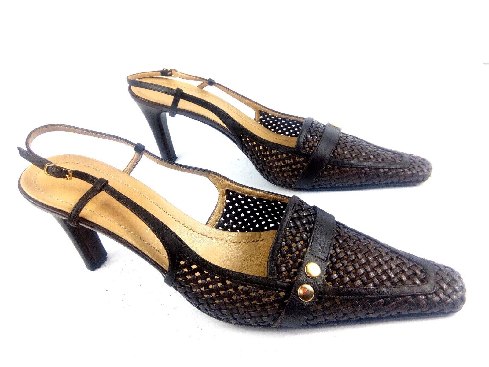 Casadei Women's 10 Brown Woven Pointy Toe Slingback Kitten Heel Pumps .. 489