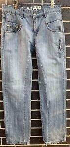 G-Star-Raw-Men-s-Elwood-3301-Jeans-Size-30-Denim-Wash-Grey-Zipper-Fly-Distressed