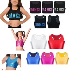 Girls Ballet Dance Tanks Bra Crop Tops Shiny Letters Printed Gymnastics Costumes