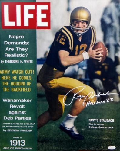 Roger Staubach Signed Navy Midshipmen 16x20 Photo Life Magazine Cover JSA W Auth