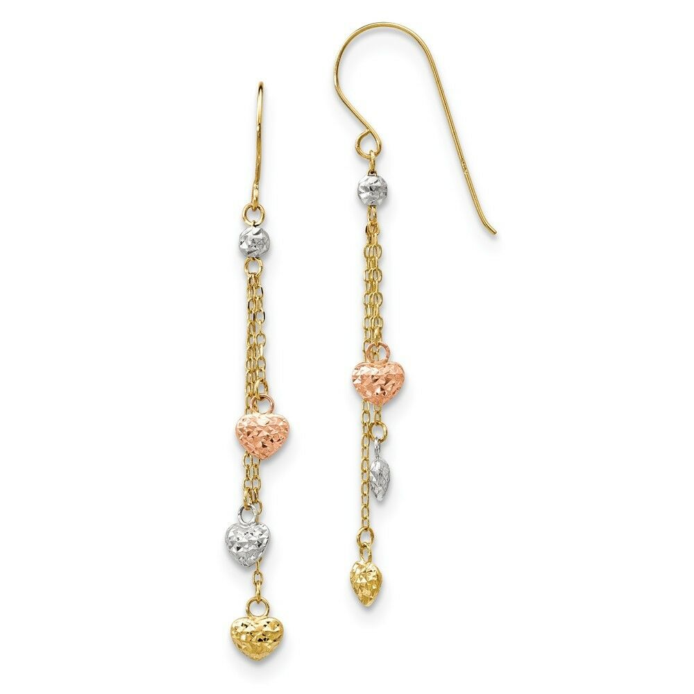 14kt Tri-color D C Triple Heart Dangle Shepherd Hook Earrings