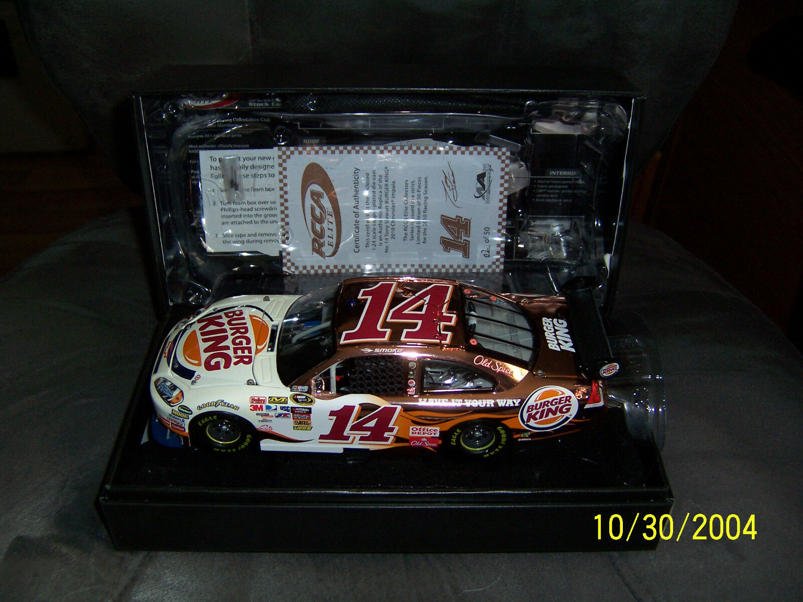 2010 Tony Stewart Burger King 1 24 Elite cobre 1 de 50