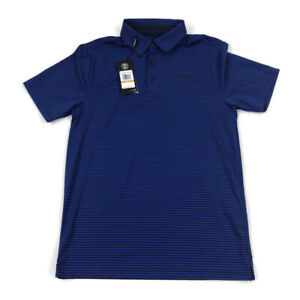 Under-Armour-Mens-Polo-Shirt-Heatgear-Loose-Golf-Blue-Striped-Variety-Sizes