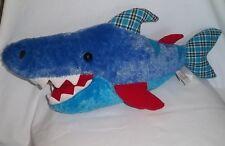 "GUND 22"" Plush DOWN BY THE SEA CHOMPER SHARK 320650 Large Blue Plaid Stuffed Toy"