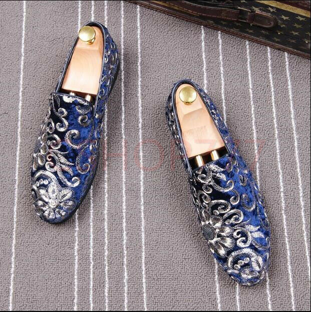 New Boys US Uomo stylish embroider slip on club party loafers Scarpe Dress formal