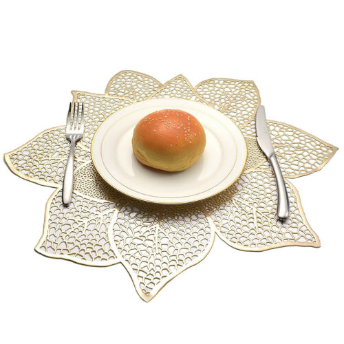 Non-slip Table Placemat PVC Hollow Flower Coaster Heat Insulation Cup Pads Mats