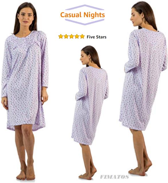 Plus Size,Womens Long Sleeve Cotton Night Gown/Sleep  Dress/Nightshirt,5X,Purple
