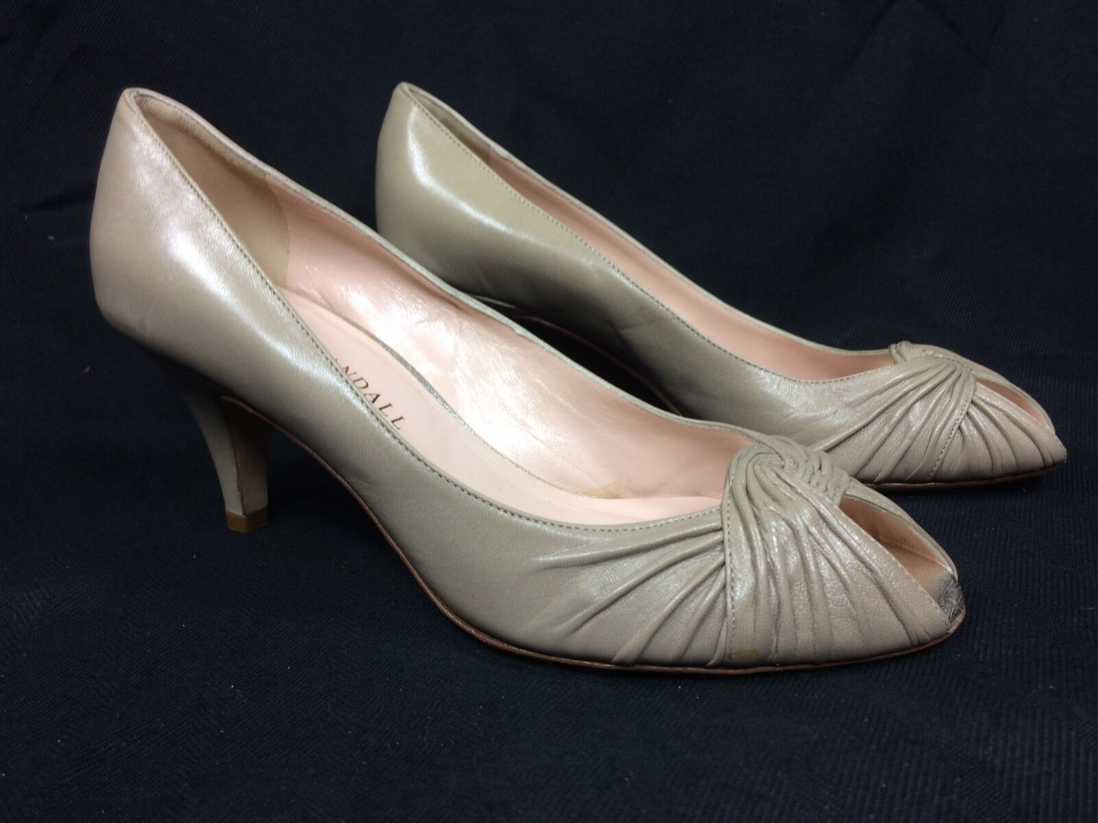 NEW  395 Loeffler Randall Pleated Leather Trim Peep-Toe 2  Heel Pump Taupe Sz 7