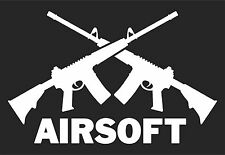 "AIRSOFT Crossed Guns sticker AR15 .556 Style Vinyl Decal WHITE 4""X6"""