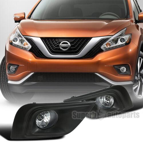 2015-2018 Fits Nissan Murano Bumper Fog Lights Clear Lens Black Bezel w// Switch