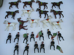 Cavalry-Vintage-Hard-Plastic-Display-Lot-Mexican-Toy-Soldier-Horse-Rider-Alamo