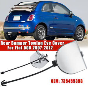 Rear Bumper Tow Towing Eye Cover Full Chrome For Fiat 500 2007-2012  New