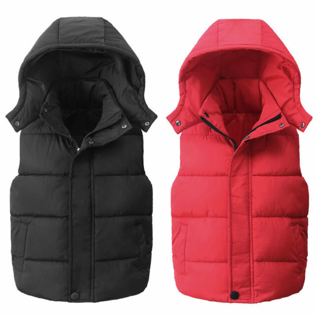 KIDS QUILTED HEAVY PADDED LINED GILET SLEEVELESS BODY WARMER JACKET COAT SIZE