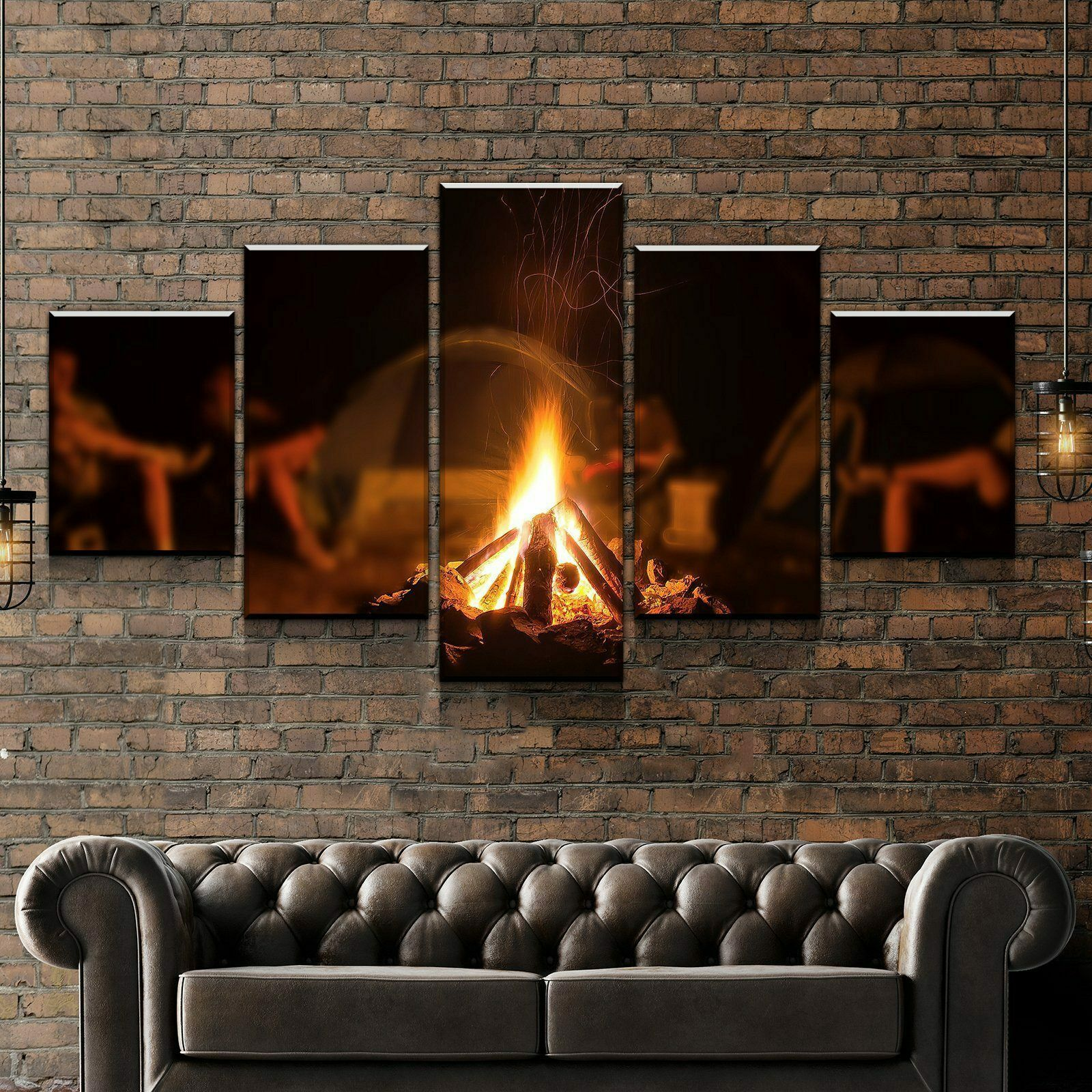 Camp Fire Camping 5 panel canvas Wand Kunst Home Decor Poster Drucken