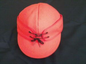 Image is loading Original-Wool-Railroad-Cap -Blaze-Orange-Insulated-Langenberg- d6bd56ef3c8f