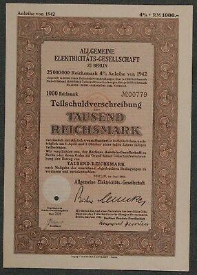 100% QualitäT Lot 10 X Allgemeine Elektricitäts-gesellschaft 1942 4 % 1000 Rm