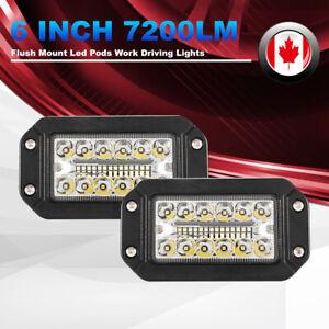 2Pcs 6Inch Flush Mount LED Work Light Spot Flood 7200LM Offroad Driving Lights
