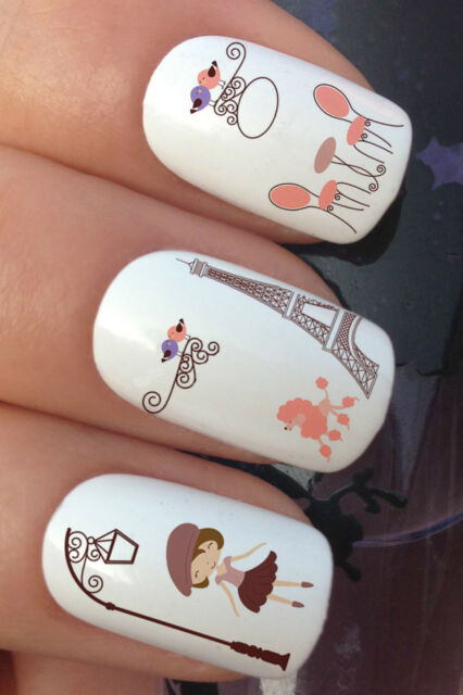 NAIL ART SET #655 x12 FRENCH DAYS EIFFEL TOWER WATER TRANSFER DECALS STICKERS