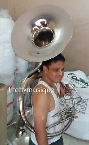 SOUSAPHONE-NEW-22-034-BELL-OF-PURE-BRASS-IN-SILVER-CHROME-CASE-MOUTHPC-SHIPPING