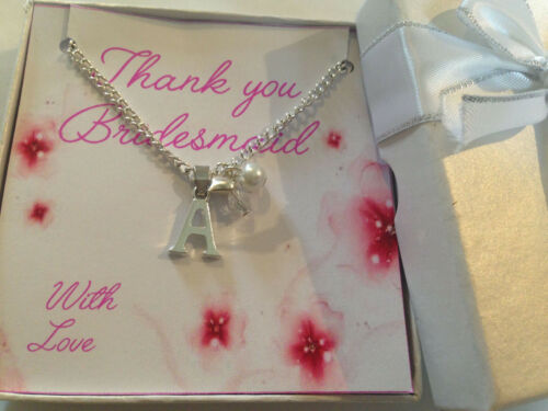 Wedding Thank You Gift for Bridesmaid Flower Girl initial Necklace ch pink white