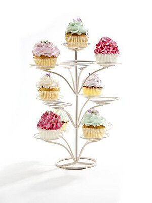"""TIERED CUPCAKE TREE STAND 14"""" White Holds 13 Sm Cake Desserts SWEET SHOPPE NEW!"""